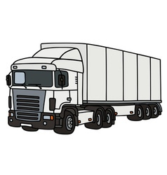 White truck with a semitrailer vector