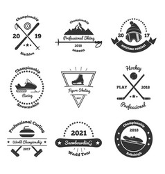 winter sports monochrome emblems vector image