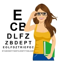 Woman with glasses reading sight test characters vector