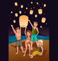 Young people releasing paper lanterns vector