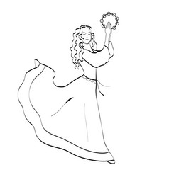 Young woman dncing with a tambourine linear vector