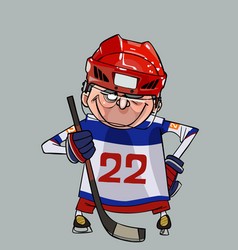 cartoon comic smiling hockey player with a stick vector image