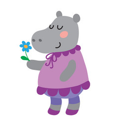 cute cartoon hippopotamus vector image vector image