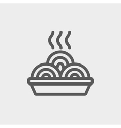 Hot meal in plate thin line icon vector image vector image