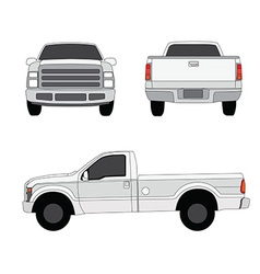 Pick-up truck three sides view vector image vector image
