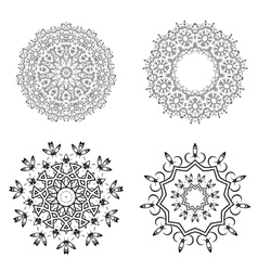 Round Geometric Ornaments Set on White Background vector image