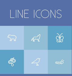 set of 6 editable animal icons includes symbols vector image vector image