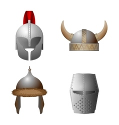 Set of medieval viking knight horned coppergate vector image vector image