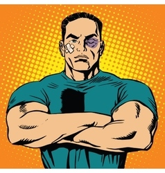 Strong man after a fight vector image