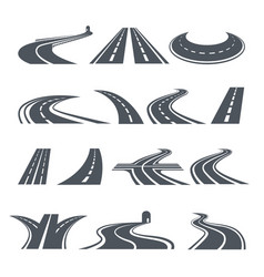 stylized symbols of road and highway pictures for vector image