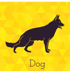 Dog silhouette on triangles background vector image vector image