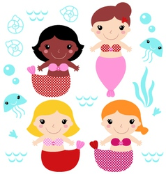 Little cute colorful Mermaids set vector image