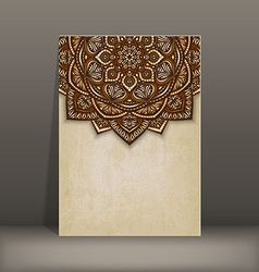 old paper card with brown floral circular pattern vector image