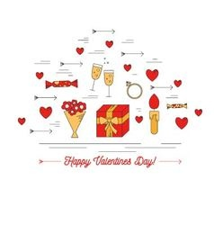 Set of Valentines day lines icons flat design vector image
