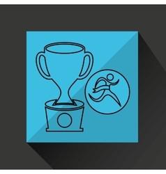 winner silhouette sport trophy icon vector image