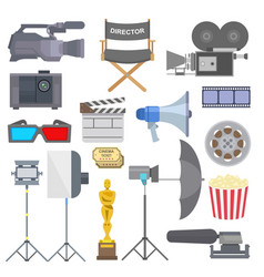 Cinema movie making tv show tools equipment vector