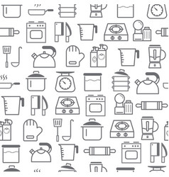 line style icons seamless pattern kitchen vector image vector image