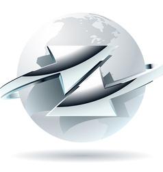 Arrow moves around of white globe vector image