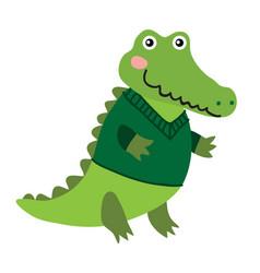 cute cartoon crocodile vector image