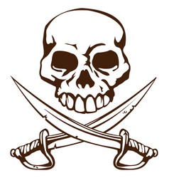 pirate skull and crossed swords symbol vector image