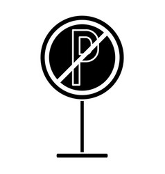 Silhouette prohibited parking car sign traffic vector