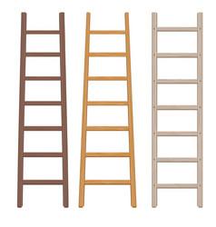 wooden ladder set vector image