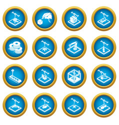 3d printing icons set simple style vector image