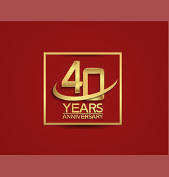 40 years anniversary with square and swoosh vector