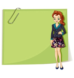 A young business girl in front of the empty vector image