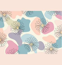 Abstract pattern hand drawn line flower vector