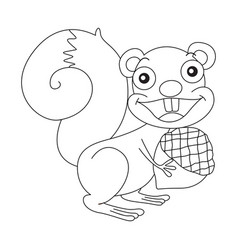 animal outline for squirrel and nut vector image