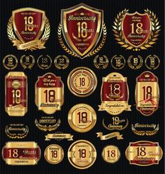 Anniversary golden shields laurel wreaths vector