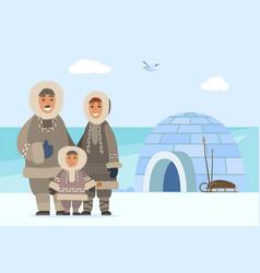 Arctic family people igloo man woman and kid vector
