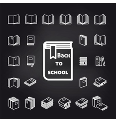 Back to school book icons vector image