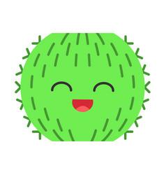 Barrel cactus flat design long shadow color icon vector