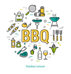 bbq - round linear concept vector image
