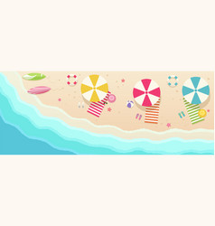 beach top view with umbrellas towels surfboards vector image