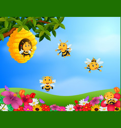 bee flying around a beehive in the garden vector image