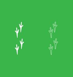 bird footprint icon white color vector image