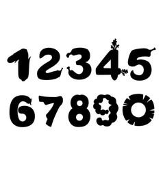 black silhouette set numbers style food vector image