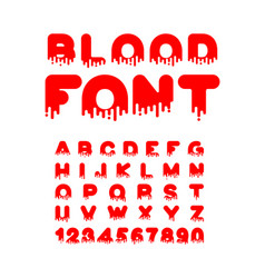 blood font for halloween red liquid letter vector image