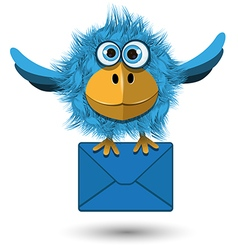 Blue Bird with a Blue Envelope vector image