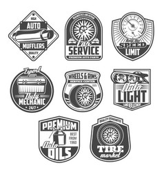 Car repair service and mechanic garage icons vector