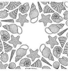card with hand drawn shells vector image