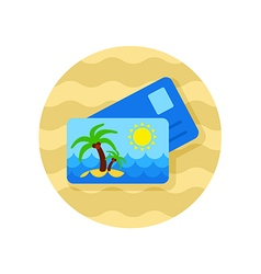 Card with palm icon Summer Vacation vector image