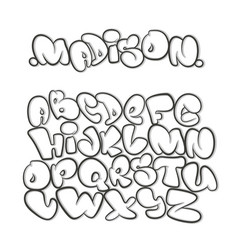 cartoon alphabet in the style of comics graffiti vector image