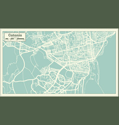 Catania italy city map in retro style outline map vector