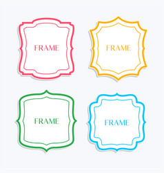 classic frames in line style and different colors vector image