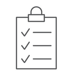 clipboard thin line icon office and work vector image