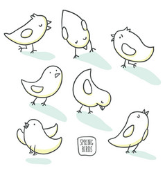 Collection of cute hand drawn bird doodles vector